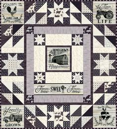 Filled with homegrown flair, this quilt features simple farmhouse style in a warm palette with tones of whitewash, taupe, gray and black, designed by Deb Strain. Pieced quilt kit contains a pattern an Fabric Panel Quilts, Fabric Panels, Fabric Scraps, Nancy Zieman, Quilt Kits, Quilt Blocks, Tim Holtz, Farm Quilt Patterns, Block Patterns
