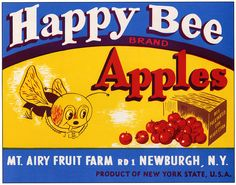 Vintage Fruit Crate Label - Happy Bee Brand Apples.  Newburgh, NY