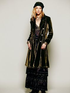 Ok- I know this is a women's coat, but for some reason I feel like Pan needs something like this.  Free People Green Velvet Duster