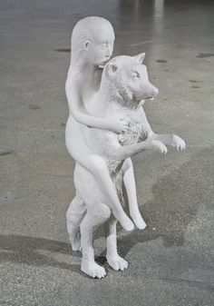 Woman with Wolf, 2003  Porcelain  14.75 x 4.25 x 8 inches