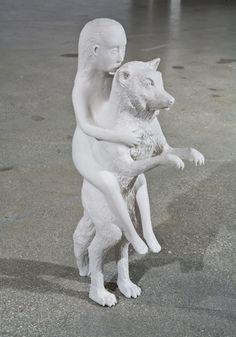 Kiki Smith // Woman with Wolf, 2003,  Porcelain