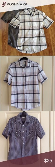 Old Navy Short Sleeve Shirt Bundle 2 short sleeve button down shirts. Stripe shirt with 2 front pockets. 100% cotton. Condition: like new. (actual color of items may vary slightly from pics) Old Navy Shirts Casual Button Down Shirts