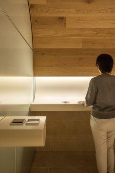 Smoking Room Grand Tree Musashikosugi by Hiroyuki Ogawa Architects Mall Design, Retail Design, Lobby Interior, Interior Lighting, Architecture Details, Interior Architecture, Interior Design, Toilet Design, Smoking Room