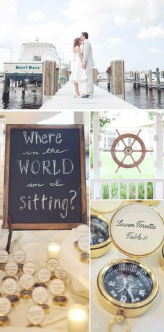 Direct your wedding guests to their table with compasses. Navigation-inspired details will add to your ceremony's nautical theme.