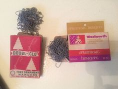 Two vintage boxes of Christmas Tree Ornament Hangers. The Doubl-Glo box has a 5 cent sticker on the back from Walker's 5 cents to $1.00 Stores. The other box of hangers is from Woolworth.