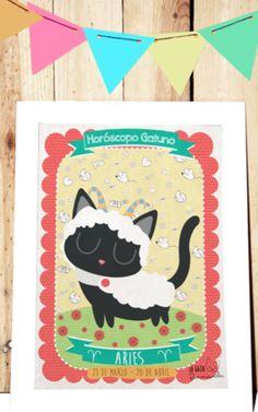 Lamina del Zodiaco Super Gatuno Aries Mas Información en: http://lagatabernarda.es