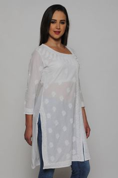 Hand Stitched Hippie Tunic Hand Embroidered Chikan Top Indian Cotton Floral Design Dress Women/'s Long Kurti