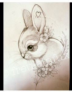 Excellent Drawing Faces With Graphite Pencils Ideas. Enchanting Drawing Faces with Graphite Pencils Ideas. Pencil Art Drawings, Cute Drawings, Drawing Sketches, Animal Sketches, Animal Drawings, Disney Drawings, Cartoon Drawings, Hase Tattoos, Rabbit Art