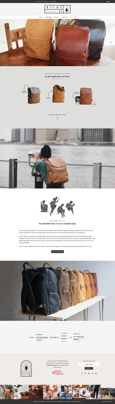 OMG these luxury leather bags by Atlas Supply Co. are absolutely gorgeous and designed specifically for entrepreneurs! Can we just take a second to savor the beautiful design and illustration that went into their website? The animated logo GIFs of the ho Minimal Web Design, Graphic Design, Wordpress Website Design, Best Web Design, Showcase Design, Blog Design, Wordpress Theme, Absolutely Gorgeous, Beautiful