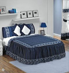Blue Lagoon Bedspread Bedding Set King 9 Pcs