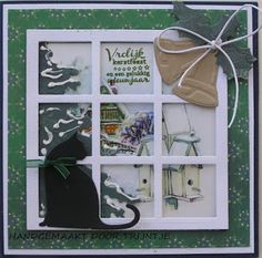 Trijntjes Kaarten Diy Christmas Cards, Christmas Projects, Popup, Snowy Window, Window Cards, Marianne Design, Diy Cards, Greeting Cards, Frame