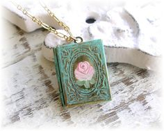 Vintage Book Locket Patina Painted Pink Rose by TheVintageHeart