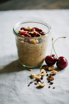 Cocoa Hazelnut Overnight Oats with Sweet Cherries -