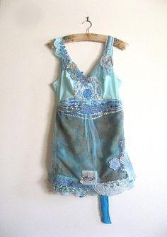 Blue Dress Sea Vintage Lace Slip Dress Bohemian by AllThingsPretty, $195.00