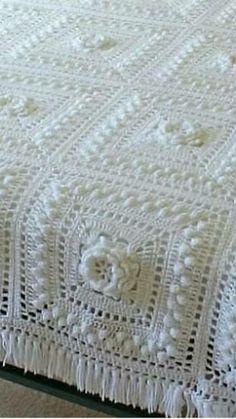 Crochet Bedspread, Manta Crochet, Afghan Patterns, Love Crochet, Bed Spreads, Blankets, Rugs, Projects, Crafts