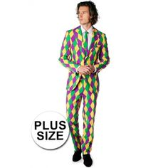 Grote maat geruit getailleerd pak voor heren met een all-over harlekijn print in Mardi Gras kleuren. Het pak is gemaakt van hoogwaardig polyester en wordt geleverd met een bijpassende stropdas.