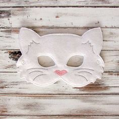Kids Cat Mask - Felt Mask - Kitty - White - Costume - Dress Up - Halloween - Pretend Play