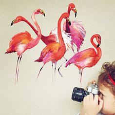 Yanqiao Watercolor Flamingo Animals Wall Stickers PVC Removbale Baby Room Decorations Wallpaper 116x146 -- Click image for more details.