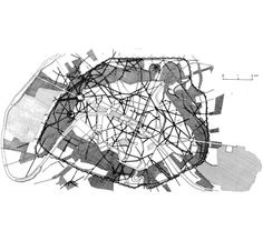 BARON GEORGES-EUGÈNE HAUSSMANN  MAP OF PARIS SHOWING THE EXTENT OF HAUSSMANN'S WORK, LATE 1800s …black lines = streets, cross-hatched areas = new districts, areas hatched with horizontal lines = parks