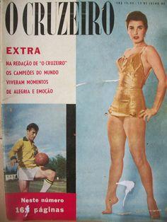 Ao lado, capa da revista O Cruzeiro, de 12/07/1958, com Bellini (1930-2014), campeão mundial de futebol,   e Adalgisa Colombo (1940-2013), Miss Distrito Federal, Miss Brasil e vice-Miss Universo 1958.