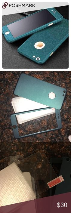 iPhone 6s Plus glass screen protector and case Very solid dark green color iPhone 6s Plus phone case and glass screen protector. Brand new still in original packaging just opened but didn't like the color. Glass screen protector still in plastic packaging so never been out. Apple Accessories Phone Cases
