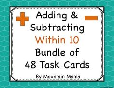 Adding and Subtracting Within 10 Math Bundle of 48 Task Cards for Kindergarten and First Grade