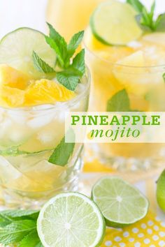 Pineapples are the epitome of summer flavor! I personally love Pina Coladas but sometimes you don't really want to have to fuss with a blender and serving frozen drinks for a group can be hard (what hostess wants to be stuck behind the blender?) so I solved that problem – pineapple mojito!