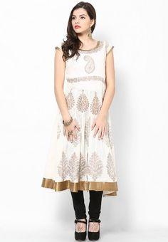Off White Printed Anarkali