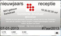 Tijdelijke header van twitter @Zevenaar i.v.m. de nieuwjaarsreceptie op maandagavond 7 januari 2013 van 19.30 tot 22.30 uur in de Filterhal van het BAT-gebouw aan de Kerkstraat 27 in Zevenaar.