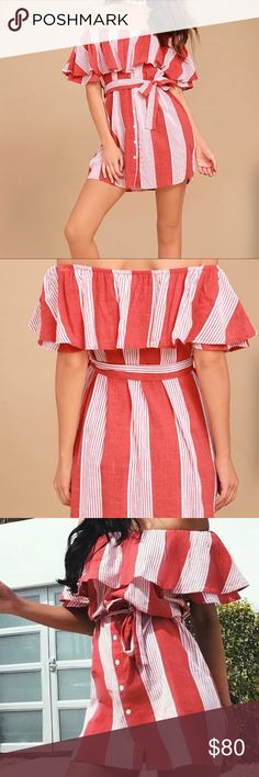 FAITHFULL THE BRAND RED STRIPED DRESS, size small T he Faithfull the Brand Amalfi Rust Red Striped Dress has us in the mood for a picnic! Lightweight woven cotton, in a cream and rust red striped pattern, shapes an elasticized off-the-shoulder neckline and flounce bodice. Decorative button placket and tying waist sash. Side seam pockets. As Seen On Racquel of @racquelnatasha and Whitney of @whitneybearr! Unlined. 100% Cotton. Hand Wash Cold. Imported. Dresses Strapless