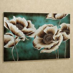 Large silver and bronze poppies seem to glow against the background on the Jardin de Pavot Floral Canvas Wall Art. Set on teal with a brown wash, the poppy flowers are magnificent in their elegance. Flower Canvas, Flower Art, Pallet Painting, Painting Doors, Interior Painting, Painting Tips, Painting Techniques, Metal Tree Wall Art, Metal Art
