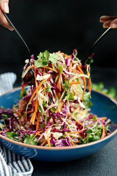 Cilantro Coleslaw with Lime Vinaigrette l SimplyScratch.com- use prebagged mix, add a finely diced/seeded jalapeno, and whole bunch of cilantro