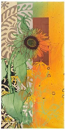 Robert Kushner: Sunflower Summer, 2011, Oil, acrylic and gold leaf on canvas, 72 x 36