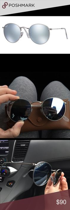 Ray-Ban Round Silver Flash Lenses WORN TWICE! Great condition! No noticeable scratches! PERFECT CHRISTMAS GIFT! Great sunnies for all seasons! Comes with case and brand new lens cloth! Ray-Ban Accessories Sunglasses