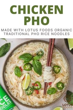 This warm and cozy recipe is rich in umami flavor and tastes excellent when paired with Lotus Foods Organic Traditional Pho Rice Noodles. Add as much fish sauce as you want for extra flavor and enjoy with your favorite toppings! #pho #noodles #soup Ramen Noodle Bowl, Chicken Pho, Pho Recipe, Food Inc, Fried Shallots, Cozy Meals, Food Website, Rice Noodles, Shredded Chicken