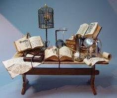 This is miniature scale and wonderfully lifelike   ♥ work table for naturalist/alchemist/magician