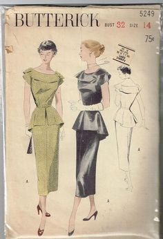 "Butterick 5249 Dress 50s Size 32"" Used Complete sld 10.5+4 2bds 5/29/15"