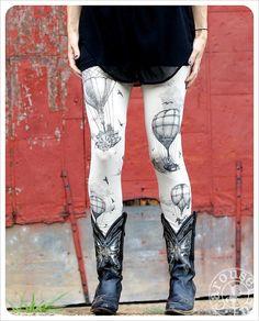 Hot Air Balloon Leggings - Womens Legging - Ivory - Tights - OZ - Etsy