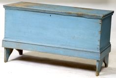 antique painted new england blanket chest   New England Blanket Box in Old Blue Paint, - Cowan's Auctions