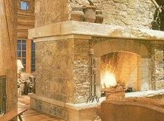 Stone Fireplace Remodel | Stone Wrapped Around Fireplace and Mantel wrapped out 3 sides of fireplace