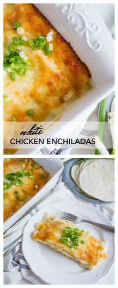 These White Chicken Enchiladas are a family favorite. They whip up pretty quickly and are a welcome site for everyone in the family. They also make great leftovers…if you are lucky enough to have any left over.