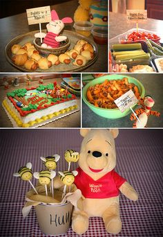 Winnie the Pooh birthday party Winnie Pooh Torte, Winnie The Pooh Themes, Winne The Pooh, Winnie The Pooh Birthday, Bear Birthday, Baby 1st Birthday, First Birthday Parties, First Birthdays, Birthday Ideas