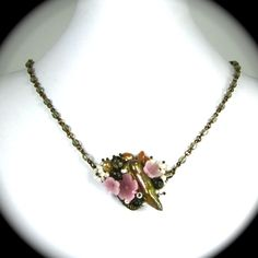 """STUNNING Freeform Necklace with Vintage Glass Flowers Czech Glass and Freshwater Pearls """"PRINTEMPS"""" Altered Heirlooms by Nouveau Motley. $125.00, via Etsy."""