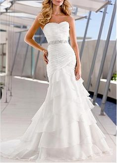 Wonderful Organza Satin & Satin Mermaid Strapless Sweetheart Ruched Beaded Tiered Beach Wedding Dress