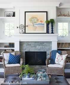 Summer Home Tour - The Lilypad Cottage, fireplace and mantel A fireplace can be described as structu 3 Living Rooms, Decor Home Living Room, Diy Home Decor Bedroom, Coastal Living Rooms, Living Room Seating, Living Room Furniture, Home And Living, Living Spaces, Grey Stone Fireplace