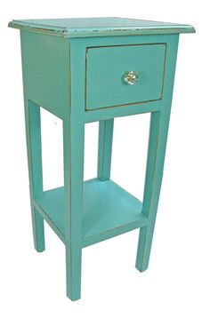 Cottage Chic Upcycled Aqua Side Table with Drawer by ChairyPicked