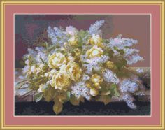 Yellow Roses And Lilacs Cross Stitch Pattern