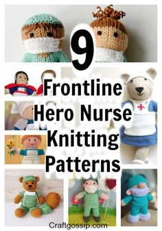 9 Frontline Hero Nurse Knitting Patterns - - Last week we featured the Frontline crochet bear and this week we are focusing on individual essential workers. We are starting the week with nurses! We love nurses and they are the glue holding us…. Teddy Bear Knitting Pattern, Knitted Doll Patterns, Knitted Teddy Bear, Crochet Bear, Knitting Patterns Free, Free Knitting, Baby Knitting, Knitted Nurse Doll Pattern, Finger Knitting