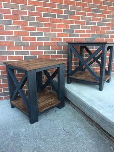 *At this time the Porter tables are not able to be shipped and must be picked up or delivered locally. * Custom built farmhouse style end table. Perfect to use as a bedroom nightstand or living room end table. Each end table measures: 21.5 inches long 21.5 inches deep 24 inches tall