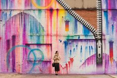 Zipper Colorful Wall by Kelly Graval (aka Risk Rock) 1513 St. Emanuel, Houston, TX 77003     Produced by Hue Mural Fest